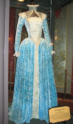 A velvet and brocade gown worn by Gweneth Paltrow as Viola in the film Shakespeare in Love.