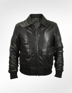 Forzieri Men's Black Leather Motorcycle Jacket. Ride In The Wind And Look Stylish.