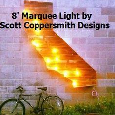 Scott Coppersmith Designs - California Map Marquee Light, Sunset California Marquee Light
