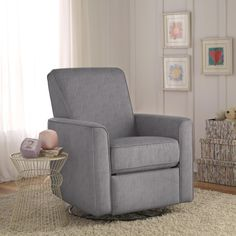 Zoey grey nursery swivel glider recliner chair is handcrafted using time-honored Old World techniques.  This recliner offers swivel, gliding and reclining movements.  This versatile recliner can be used in any room of the house