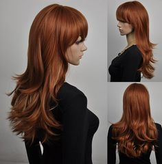 Delysia // Ginger Red Long Synthetic Wig with Bangs by ginabarto, $60.00