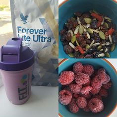 Shake your way to fitness with this healthy yet tasty meal replacement: *1 scoop Vanilla Forever Lite Ultra *Raspberries *Mixed Seeds *Almond Milk. Blend until smooth. #healthy #shake #nutrition #weightmanagement