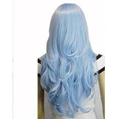 AGPtek 33 inch Light Blue Heat Resistant Curly Wavy Long Cosplay Wigs