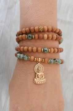 108 Mala African Turquoise,Sandalwood & buddha, Mala prayer Necklace or bracelet,  Reiki Charged, free shipping. $39.00, via Etsy.