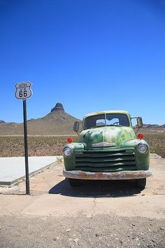 Route 66 - An Old Green Chevy retired in Arizona