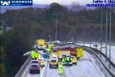 The #Maserati hanging from the #M6 Haydock flyover yesterday morning.  Full story at http://www.bbc.co.uk/news/uk-england-merseyside-24794490