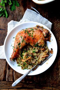 Roast Chicken with Wild Mushroom Sticky Rice Risotto