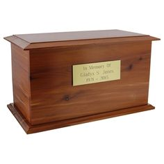 Natural with clean lines, the Haven Cedar Cremation Urn is a quality wooden urn as well as a meaningful resting place for a loved one's ashes. Cremation Boxes, Cremation Urns, Funeral Urns, Dog Whistle, Bench With Shoe Storage, Workshop Organization, Pet Urns, Losing A Pet, Casket