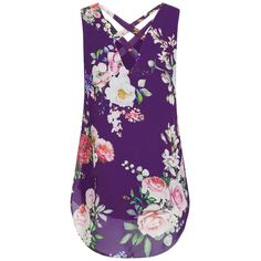 a9e6c039a2ca3b CUCUHAM Women Loose Flowers Chiffon Sleeveless Tank VNeck Zipper Hem Scoop  Tshirts TopsZZPurple XL