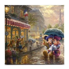 Mickey and Minnie in Paris - Limited Edition Art - Thomas Kinkade Galleries of New York, New Jersey & Connecticut Disney Kunst, Arte Disney, Disney Mickey, Disney Images, Disney Pictures, Princesas Disney Dark, Kinkade Paintings, Oil Paintings, Thomas Kincaid