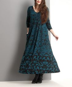 Loving this Emerald Floral Pin Tuck Maxi Dress - Plus on #zulily! #zulilyfinds