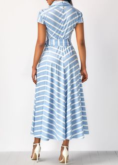 Cap Sleeve Striped V Neck Belted Dress | Rosewe.com - USD $34.88