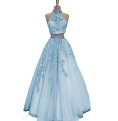467814e019f New LeoGirl Womens Two Piece Lace Appliques Beaded Tulle Prom Dresses High  Neck A-Line Evening Gown online shopping