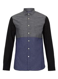 Triple Contrast Chambray Long Sleeve Smart Shirt - Dress Shirts - Men's Shirts  - Clothing