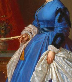 August Ferdinand Hopfgarten 1866 Portrait of a Blue Dress