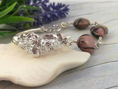Rhodonite Bracelet. Rose Spoon Bracelets for Women. Upcycled Sterling Silverware Jewelry with Heart Shaped Australian Gemstones. Sterling Silverware, Silverware Jewelry, Spoon Bracelet, Bracelets, Spoon Rings, Upcycled Vintage, Rose Design, Organza Bags, Heart Shapes