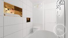 Dużo bieli i marmur na posadzce, jednak z większą dozą ryzyka. Ściana z umywalką pokryta została cudowną tapetą. Biała zabudowa pod umywalką wykończona listwą miedzianą. Do wysokości blatu, na ścianach biała ceramiczna mozaika z miedzianą spoiną. Nad wanną wolno stojącą, użyliśmy neonu:) Z kolei na przeciwległej ścianie zaprojektowaliśmy zabudowę z frontami otwieranymi na dotyk z dwiema wnękami, wykończonymi miedzią. Pracownia projektowa M&M