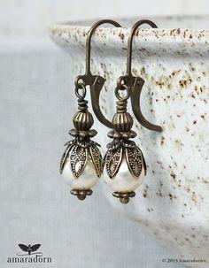 Cream Pearl Earrings made with Swarovski Crystal by Amaradorn