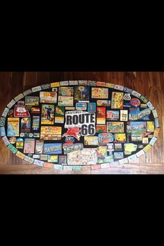 Vintage Route 66 Oval Collage Coffee Table by Marisa1111 on Etsy, $400.00 #route66 #map #road