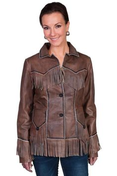 A Scully Ladies' Leather Jacket: Western Fringe Lamb Brown M-XL