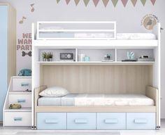 ¡Hola a todos! Hoy os queremos enseñar este modelo de litera de 209 cm de ancho con escalera de cajones de 43 cm o 53 cm de ancho, con la cama superior desplazable para poder hacer la cama mejor por 1.499 euros. ¿Qué os parece?