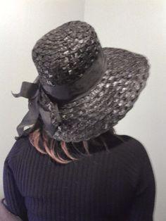 Hollywood Chic Vintage 50's 60's Blackraffia  Straw glamour  Hat mint  Size 22 #WideBrim