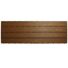 "BareDecor EZ-Floor 12"" x 12"" Teak Wood Snap-In Deck Tiles in Oiled & Reviews | Wayfair"