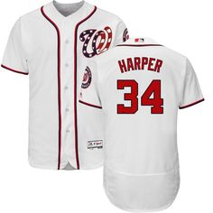 d6b61d2e7a6 Nationals  34 Bryce Harper White Flexbase Authentic Collection Stitched MLB  Jersey Aaron Rodgers