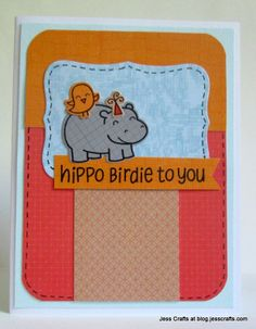 Lawn Fawn - Year Four + coordinating dies _ really cute Hippo Birdie To You card by Jessica via Flickr - Photo Sharing!