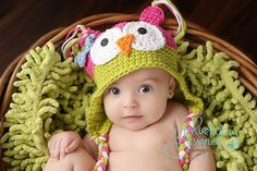 Owl hat baby girl photo