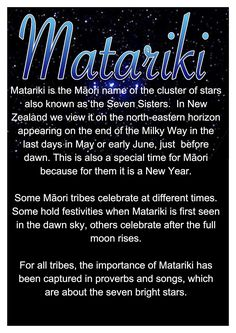 Waitangi National Trust - Matariki Fesitval Matariki is the Māori name for the cluster of stars also known as the Pleiades. It rises just once a year. Early Childhood Centre, Early Childhood Education, Early Education, School Resources, Teaching Resources, Teaching Ideas, Honeymoon In New Zealand, Waitangi Day, Maori Words