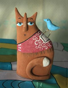 Купить Коты-Человеки - кот, кошка, коты, котики, глина, Керамика, птица, птичка, сердце