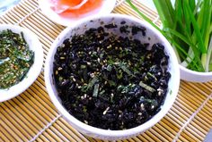 Black Rice with Nori and Sesame, great for adding to sushi and rice paper rolls.