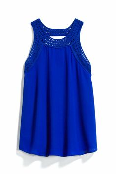 Cobalt Blue Tank Top with Crochet Strap Detail - Stitch Fix Style Quiz Stitch Fix Outfits, Stitch Fix Stylist, Cute Tops, My Outfit, Passion For Fashion, Dress To Impress, What To Wear, Style Me, Cute Outfits