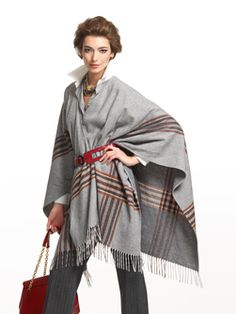 """Doncaster.com-M200SC61GRE  Fringe Plaid Shawl. Self-fringe on ends, topstitching along edges. Unlined, 58"""". Dry Clean Only. Imported. 70% Wool, 30% Nylon $160"""