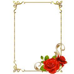 frame png | Frames PNG douradas com rosa vermelhas-Central Photoshop