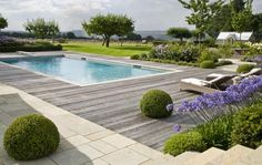 Contemporary Country Garden Design with swimming pool and sun deck designed to exploit the panoramic views to the Surrey Hills Contemporary Garden Design, Home Garden Design, Contemporary Landscape, Patio Design, Landscape Design, Garden Modern, Modern Design, Small Garden Design, Garden Architecture
