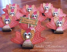 Turkey Treat Tutorial... this was a big hit last year and making again this year.   Holds 3 Hershey kisses in Turkey body.  Can use the placecard holder or not and you can add a message on turkey body.  Full color instructions.