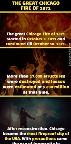 The Great Fire of Chicago was one of the most devastating fires of the 19th century. It left 100,000 people homeless and changed the destiny of the Chicago city. Here are some unbelievable facts about the great Chicago fire of 1871. #chicago #history #wtffacts #interestingfacts #historicalfacts