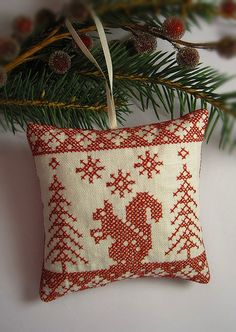 redwork squirrel and trees ornament | Flickr - Photo Sharing!