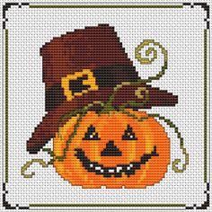 Halloween Pumpkin free cross stitch pattern