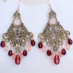 Tibetan Silver Crystal Chandelier Earrings in Pink & Plum