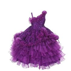 Rain Kids Toddler Girls 2T Purple One Shoulder Princess Pageant Dress   - Click image twice for more info - See a larger selection of little girl special ocassion dresses at http://girlsdressgallery.com/product-category/special-occasion-dresses/- kids, toddler, kids dresses, little girls, dress, gown, little girls fashion, gift ideas, flower girl, wedding, party dress