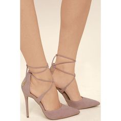 Dani Dusty Rose Suede Lace-Up Heels ($36) ❤ liked on Polyvore featuring shoes, pumps, pink, pink pointed toe pumps, pointy toe pumps, pointy toe shoes, lace up pumps and pointed toe shoes