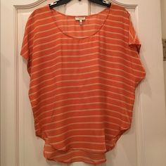 Joie Red Orange Cap Sleeve Drape Silk Top Joie size small silk drape top in red orange and white stripe. Joie Tops Blouses