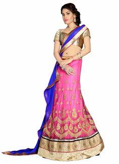 Women's Net Fabric & Pink Pretty Mermaid Cut Lehenga Style