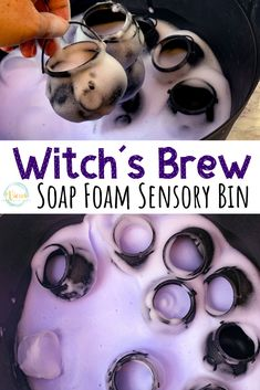 # sensory play This witch's brew halloween soap foam is made from warm water, cornstarch, dish soap and food coloring. Add with some mini cauldrons to make witch's brew. Sensory Bins, Sensory Activities, Sensory Play, Toddler Activities, Halloween Activities For Toddlers, Sensory Table, Montessori Toddler, Autumn Activities, Learning Activities
