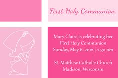 More free printable invitations!  Pink Color Blocked First Communion Invitation with First Communion Girl