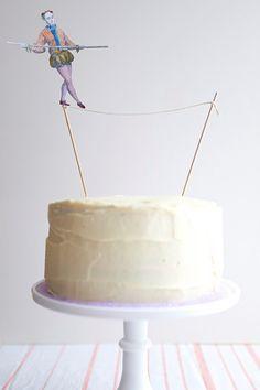 tightrope walker circus carnival cake topper
