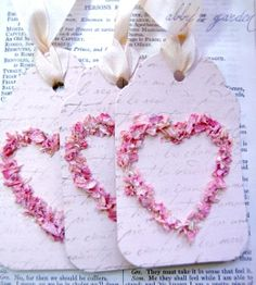 #DIY #crafts #Valentine's Day #giftwrapping ideas ToniK ⓦⓡⓐⓟ ⓘⓣ ⓤⓟ flower petal #tags http://www.etsy.com/listing/90725873/love-tagscreated-with-real-flower-petals